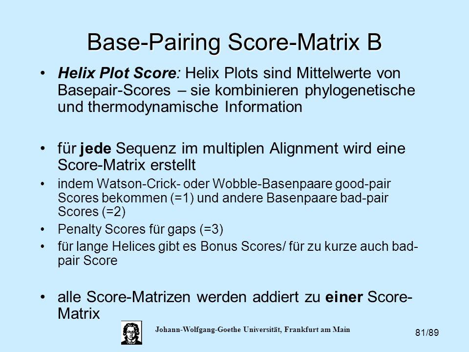 81/89 Johann-Wolfgang-Goethe Universität, Frankfurt am Main Base-Pairing Score-Matrix B Helix Plot Score: Helix Plots sind Mittelwerte von Basepair-Sc
