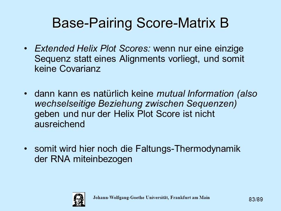 83/89 Johann-Wolfgang-Goethe Universität, Frankfurt am Main Base-Pairing Score-Matrix B Extended Helix Plot Scores: wenn nur eine einzige Sequenz stat