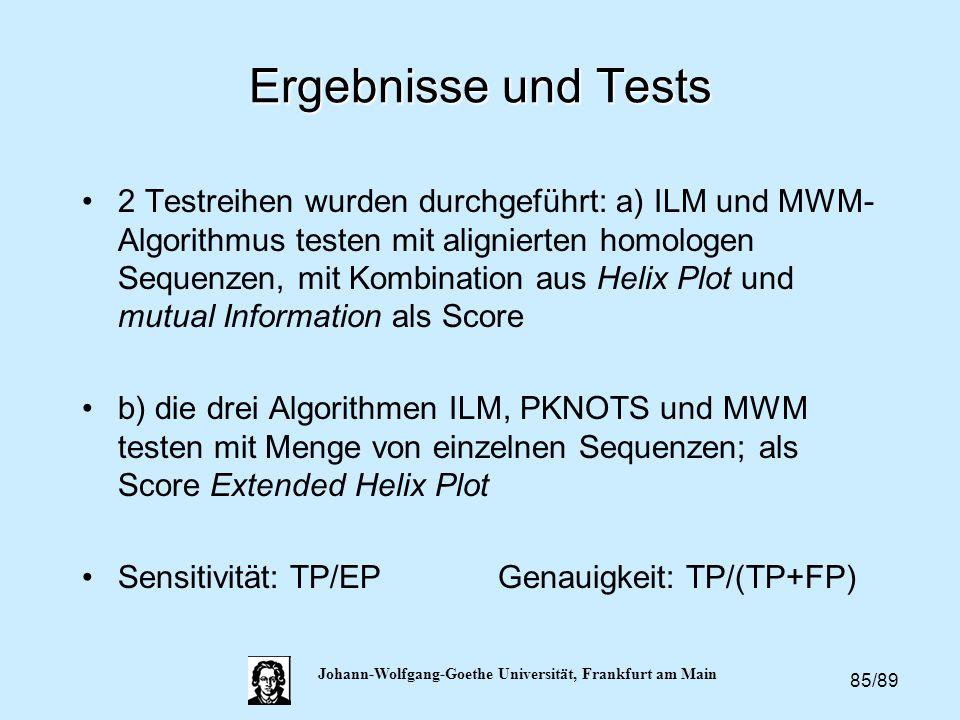 85/89 Johann-Wolfgang-Goethe Universität, Frankfurt am Main Ergebnisse und Tests 2 Testreihen wurden durchgeführt: a) ILM und MWM- Algorithmus testen