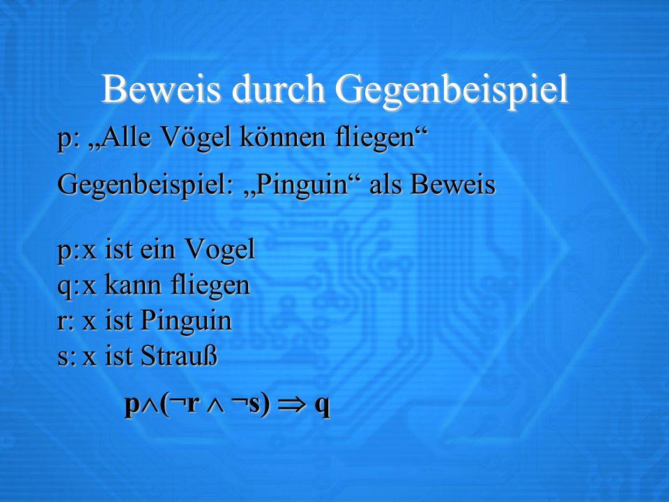 """Beweis durch Gegenbeispiel p: """"Alle Vögel können fliegen Gegenbeispiel: """"Pinguin als Beweis p:x ist ein Vogel q:x kann fliegen r:x ist Pinguin s:x ist Strauß p  (¬r  ¬s)  q"""