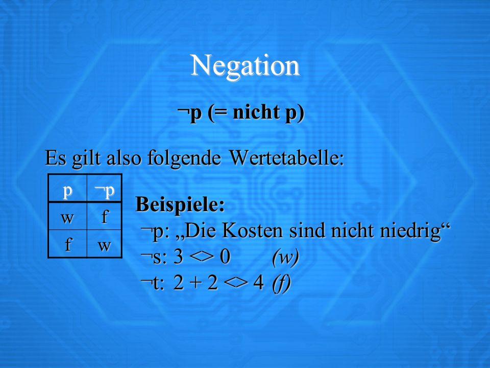 """Negation ¬p (= nicht p) Es gilt also folgende Wertetabelle: Es gilt also folgende Wertetabelle: Beispiele: ¬p: """"Die Kosten sind nicht niedrig ¬s: 3 <> 0(w) ¬t: 2 + 2 <> 4(f) Beispiele: ¬p: """"Die Kosten sind nicht niedrig ¬s: 3 <> 0(w) ¬t: 2 + 2 <> 4(f) p¬p wf fw"""