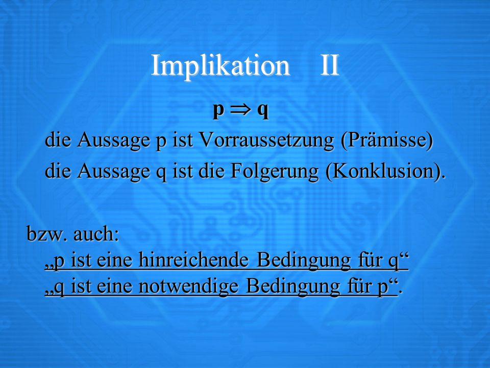 """Implikation II p  q die Aussage p ist Vorraussetzung (Prämisse) die Aussage q ist die Folgerung (Konklusion). bzw. auch: """"p ist eine hinreichende Bed"""