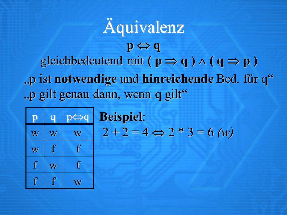 """Äquivalenz p  q gleichbedeutend mit ( p  q )  ( q  p ) """"p ist notwendige und hinreichende Bed. für q"""" """"p gilt genau dann, wenn q gilt"""" Beispiel: 2"""