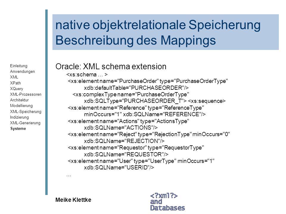 Einleitung Anwendungen XML XPath XQuery XML-Prozessoren Architektur Modellierung XML-Speicherung Indizierung XML-Generierung Systeme Meike Klettke nat