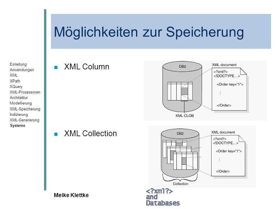 Einleitung Anwendungen XML XPath XQuery XML-Prozessoren Architektur Modellierung XML-Speicherung Indizierung XML-Generierung Systeme Meike Klettke Mög