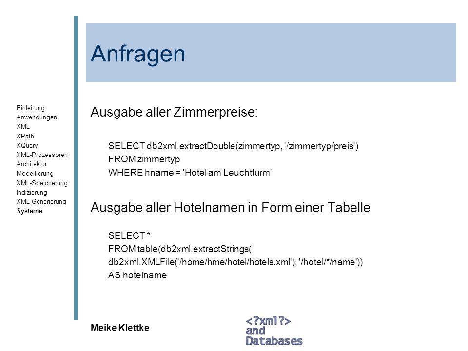 Einleitung Anwendungen XML XPath XQuery XML-Prozessoren Architektur Modellierung XML-Speicherung Indizierung XML-Generierung Systeme Meike Klettke Anf