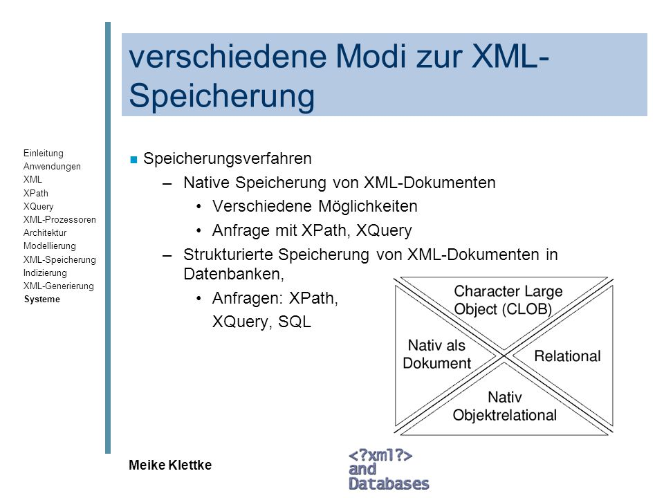 Einleitung Anwendungen XML XPath XQuery XML-Prozessoren Architektur Modellierung XML-Speicherung Indizierung XML-Generierung Systeme Meike Klettke Anfragen Ausgabe aller Zimmerpreise: SELECT db2xml.extractDouble(zimmertyp, /zimmertyp/preis ) FROM zimmertyp WHERE hname = Hotel am Leuchtturm Ausgabe aller Hotelnamen in Form einer Tabelle SELECT * FROM table(db2xml.extractStrings( db2xml.XMLFile( /home/hme/hotel/hotels.xml ), /hotel/*/name )) AS hotelname