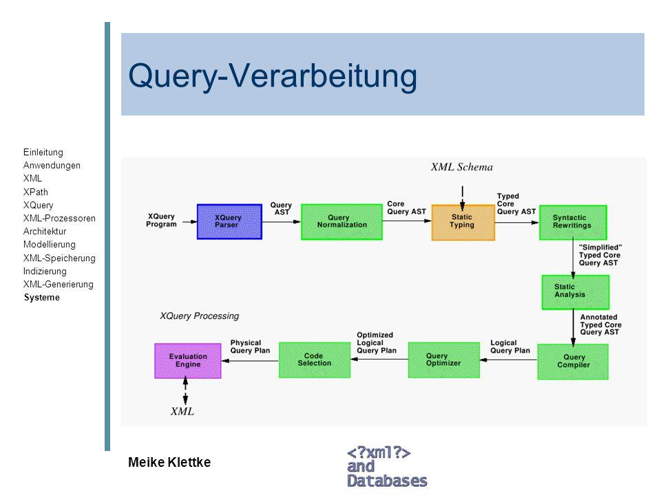 Einleitung Anwendungen XML XPath XQuery XML-Prozessoren Architektur Modellierung XML-Speicherung Indizierung XML-Generierung Systeme Meike Klettke Que