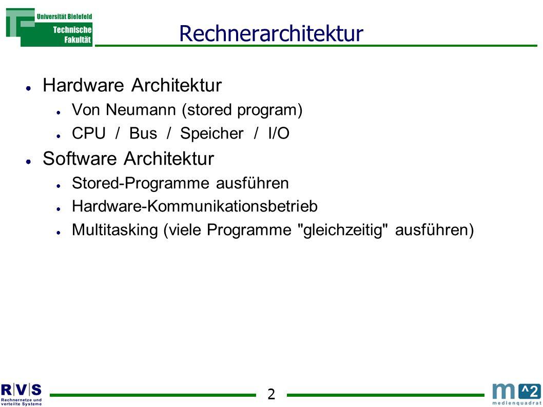 13 Vorlesung 3 ● Bus Architektur im Detail ● RAM ● Wie Speicher adressiert wird ● Wie I/O adressiert wird