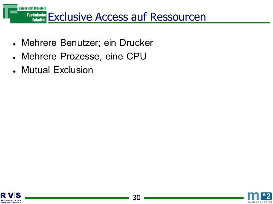 30 Exclusive Access auf Ressourcen ● Mehrere Benutzer; ein Drucker ● Mehrere Prozesse, eine CPU ● Mutual Exclusion