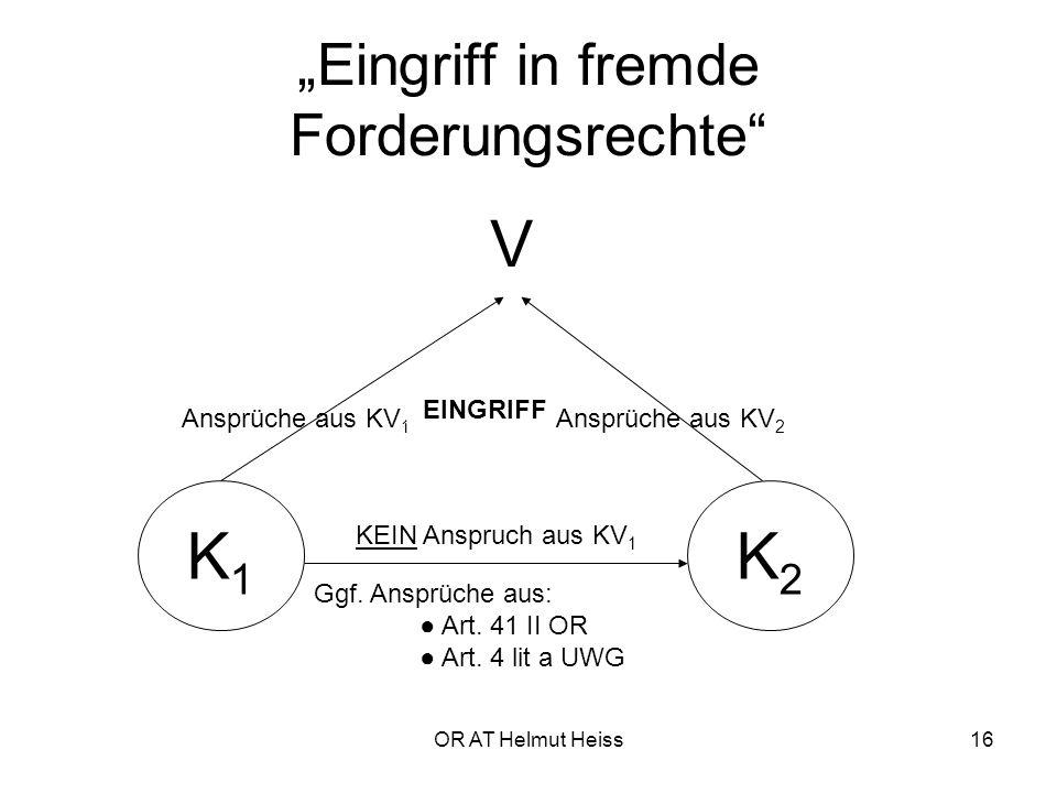 """OR AT Helmut Heiss16 """"Eingriff in fremde Forderungsrechte V K1K1 K2K2 Ansprüche aus KV 1 Ansprüche aus KV 2 KEIN Anspruch aus KV 1 Ggf."""