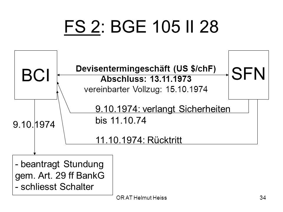 OR AT Helmut Heiss34 FS 2: BGE 105 II 28 BCI SFN Devisentermingeschäft (US $/chF) Abschluss: 13.11.1973 vereinbarter Vollzug: 15.10.1974 - beantragt Stundung gem.