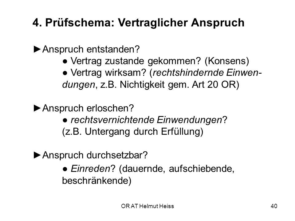 OR AT Helmut Heiss40 4.Prüfschema: Vertraglicher Anspruch ►Anspruch entstanden.