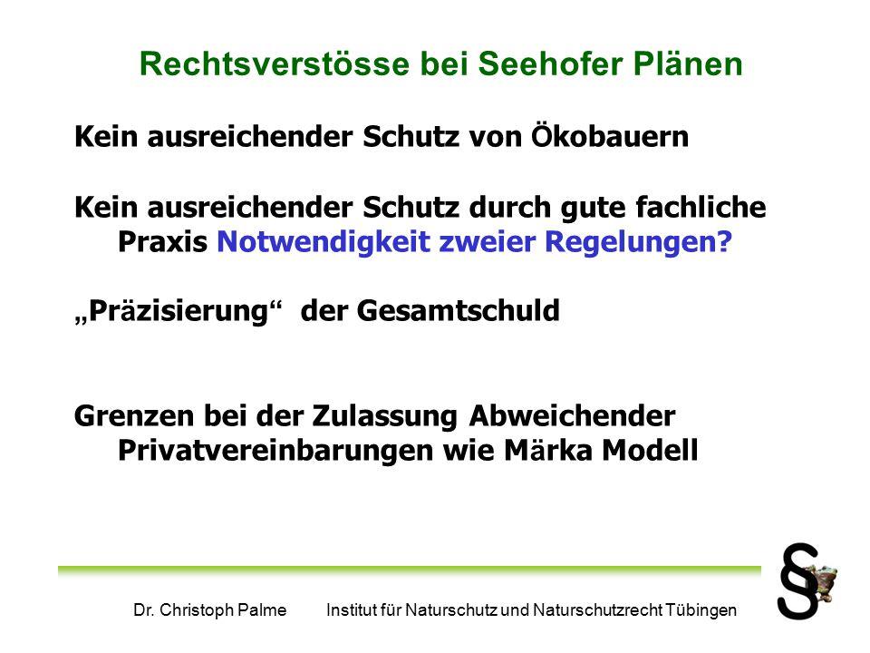 Dr. Christoph Palme Institut für Naturschutz und Naturschutzrecht Tübingen Rechtsverstösse bei Seehofer Plänen Kein ausreichender Schutz von Ö kobauer