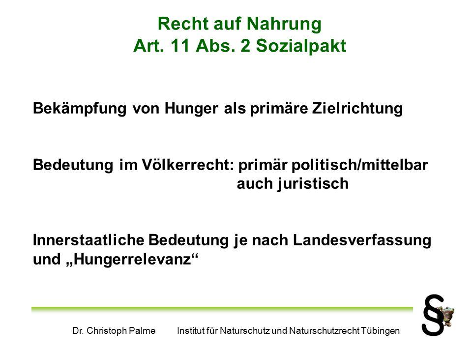Dr. Christoph Palme Institut für Naturschutz und Naturschutzrecht Tübingen Recht auf Nahrung Art. 11 Abs. 2 Sozialpakt Bekämpfung von Hunger als primä