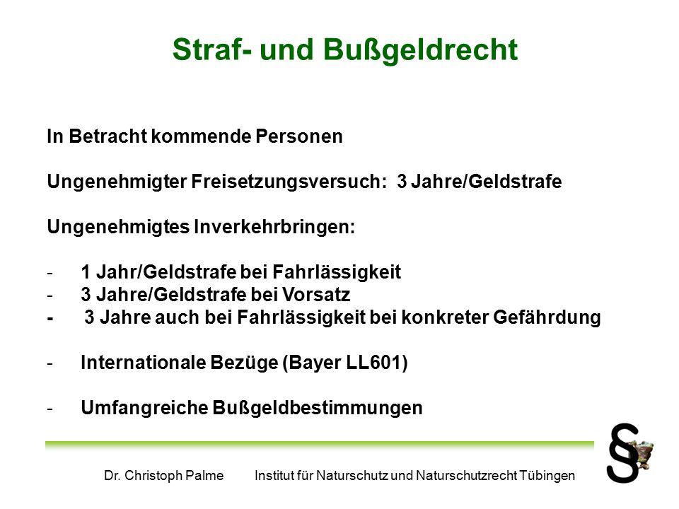 Dr. Christoph Palme Institut für Naturschutz und Naturschutzrecht Tübingen Straf- und Bußgeldrecht In Betracht kommende Personen Ungenehmigter Freiset