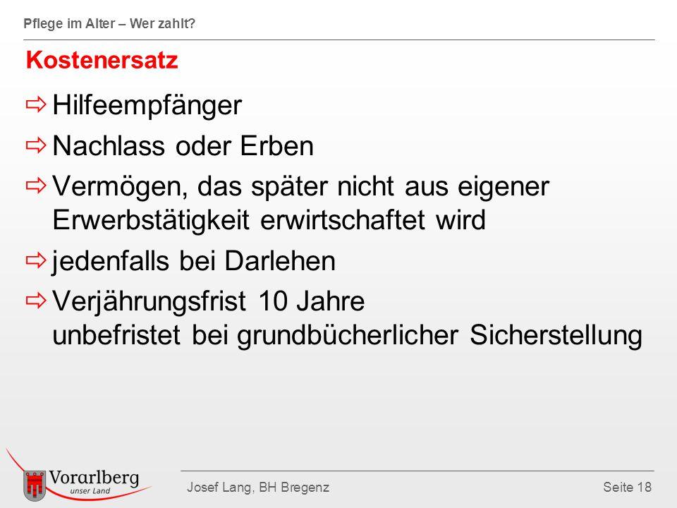 Pflege im Alter – Wer zahlt? Josef Lang, BH BregenzSeite 18 Kostenersatz  Hilfeempfänger  Nachlass oder Erben  Vermögen, das später nicht aus eigen