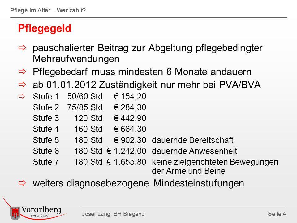 Pflege im Alter – Wer zahlt? Josef Lang, BH BregenzSeite 4 Pflegegeld  pauschalierter Beitrag zur Abgeltung pflegebedingter Mehraufwendungen  Pflege