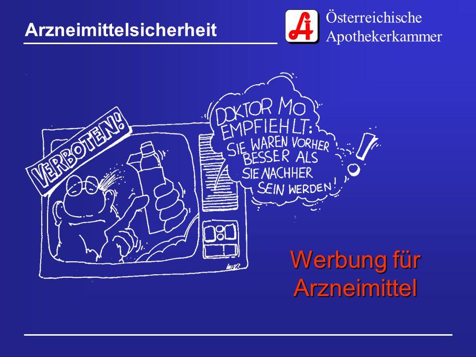 Österreichische Apothekerkammer Arzneimittelsicherheit Werbung für Arzneimittel