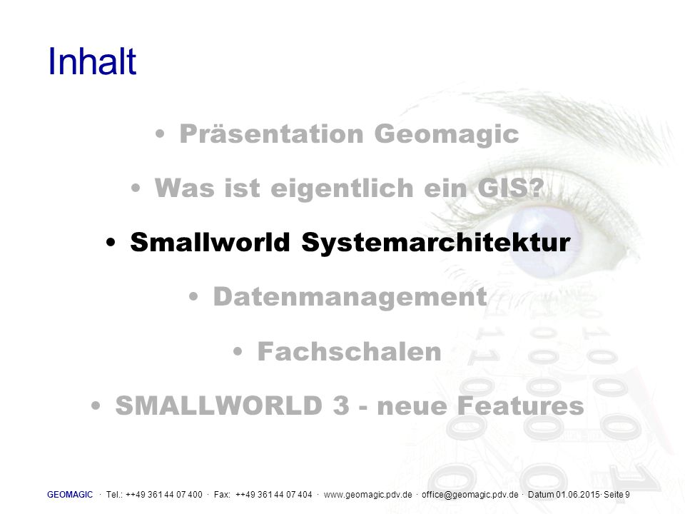 GEOMAGIC · Tel.: ++49 361 44 07 400 · Fax: ++49 361 44 07 404 · www.geomagic.pdv.de · office@geomagic.pdv.de · Datum 01.06.2015· Seite 30 Conflicting records  Conflict detected BaseParent min_road_id:1001 name:Old Road (Same as base) min_road_id:1001 name:New Road min_road_id:1001 name:West Road Child  Parent and child alternatives changed in different ways 