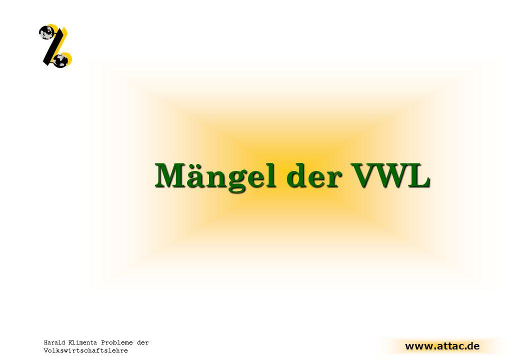 www.attac.de Harald Klimenta Probleme der Volkswirtschaftslehre Mängel der VWL