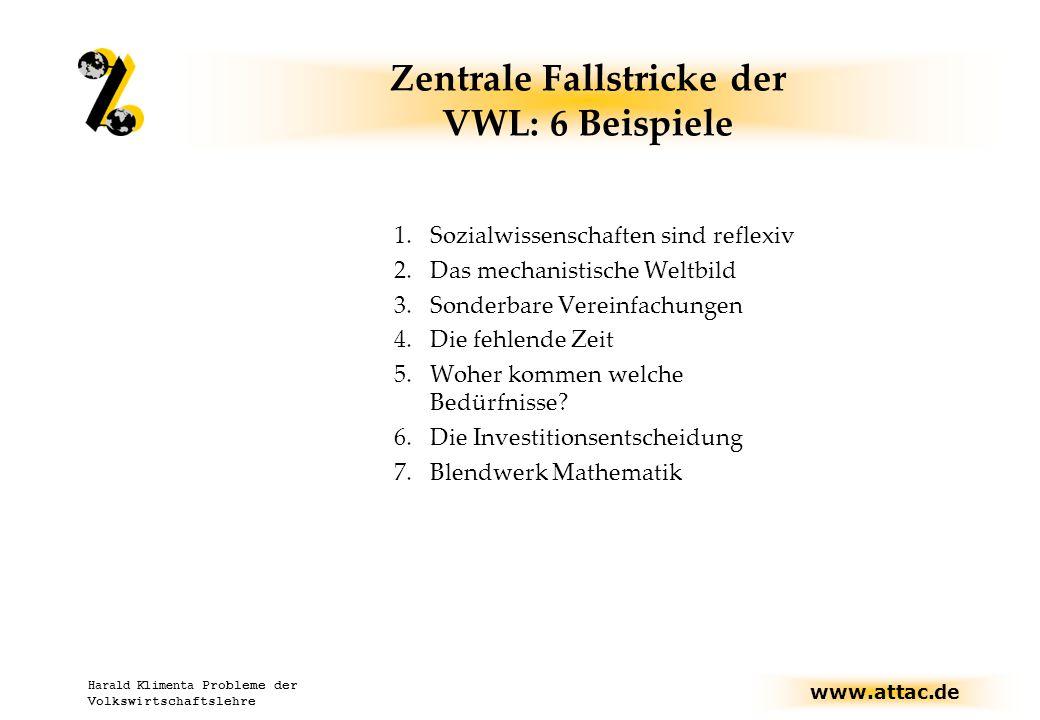 www.attac.de Harald Klimenta Probleme der Volkswirtschaftslehre Zentrale Fallstricke der VWL: 6 Beispiele 1.Sozialwissenschaften sind reflexiv 2.Das mechanistische Weltbild 3.Sonderbare Vereinfachungen 4.Die fehlende Zeit 5.Woher kommen welche Bedürfnisse.