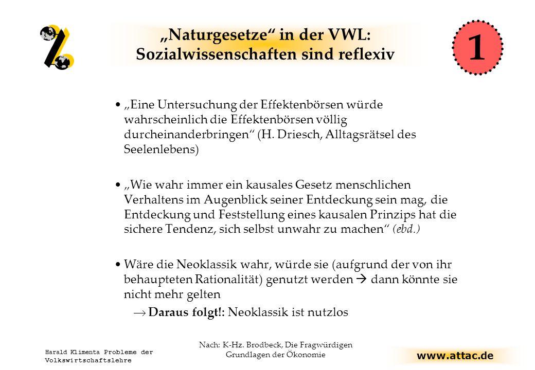 """www.attac.de Harald Klimenta Probleme der Volkswirtschaftslehre """"Naturgesetze in der VWL: Sozialwissenschaften sind reflexiv """"Eine Untersuchung der Effektenbörsen würde wahrscheinlich die Effektenbörsen völlig durcheinanderbringen (H."""
