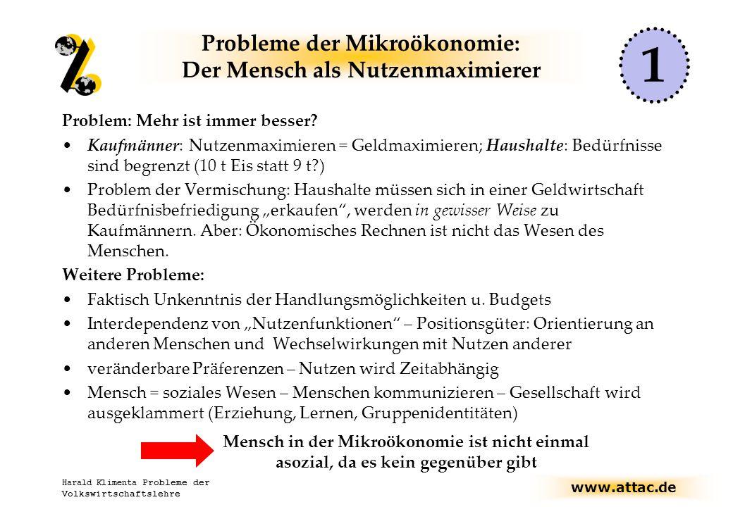 www.attac.de Harald Klimenta Probleme der Volkswirtschaftslehre Probleme der Mikroökonomie: Der Mensch als Nutzenmaximierer Problem: Mehr ist immer besser.
