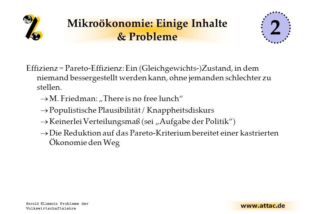 www.attac.de Harald Klimenta Probleme der Volkswirtschaftslehre Mikroökonomie: Einige Inhalte & Probleme Effizienz = Pareto-Effizienz: Ein (Gleichgewichts-)Zustand, in dem niemand bessergestellt werden kann, ohne jemanden schlechter zu stellen.