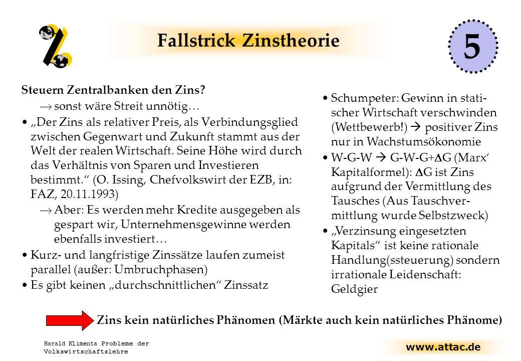 www.attac.de Harald Klimenta Probleme der Volkswirtschaftslehre Fallstrick Zinstheorie Steuern Zentralbanken den Zins.