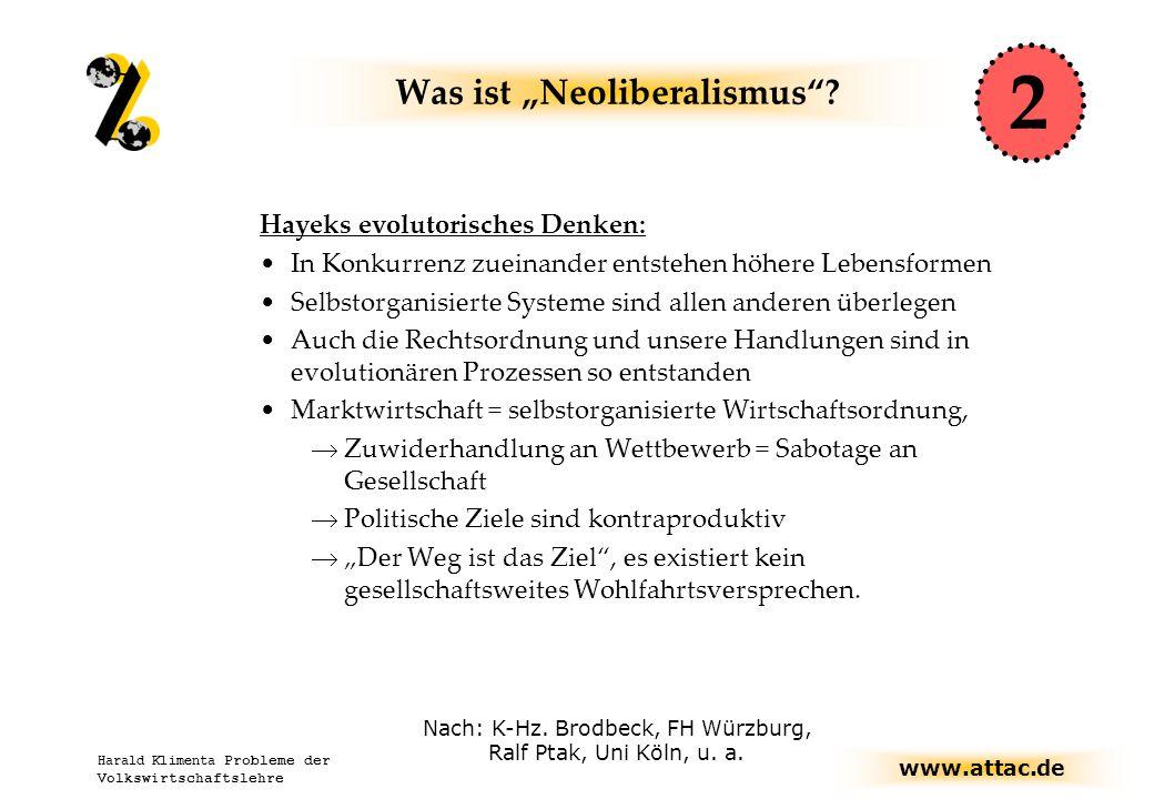 """www.attac.de Harald Klimenta Probleme der Volkswirtschaftslehre Was ist """"Neoliberalismus ."""