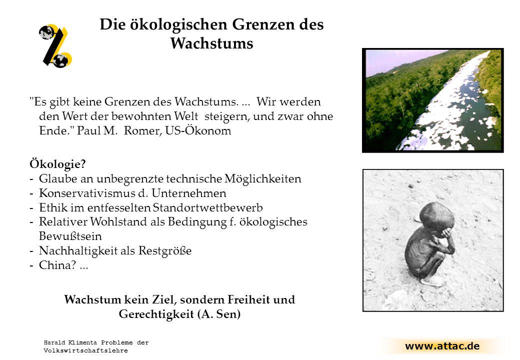 www.attac.de Harald Klimenta Probleme der Volkswirtschaftslehre Die ökologischen Grenzen des Wachstums Es gibt keine Grenzen des Wachstums....