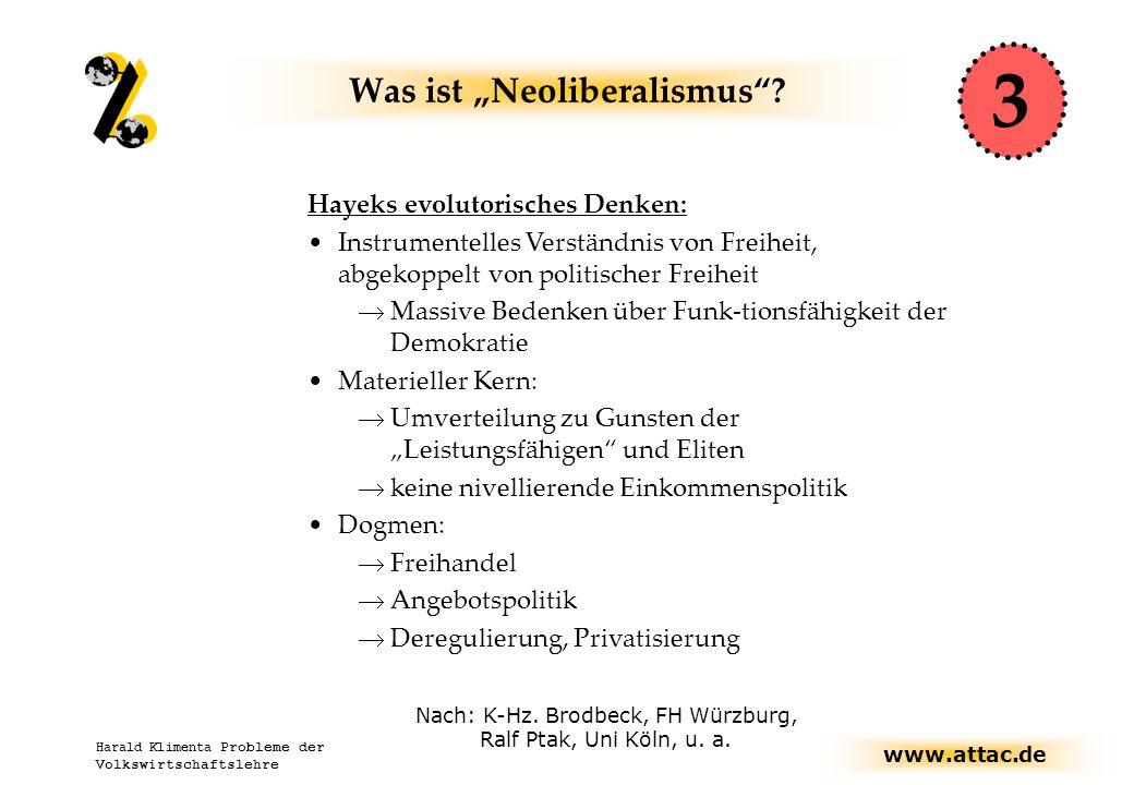 """www.attac.de Harald Klimenta Probleme der Volkswirtschaftslehre Vorbemerkung: Nicht alles ist """"neoliberal Nach: Thomas Dürmeier, www.thomasduermeier.de Evolutorische Experimentelle"""