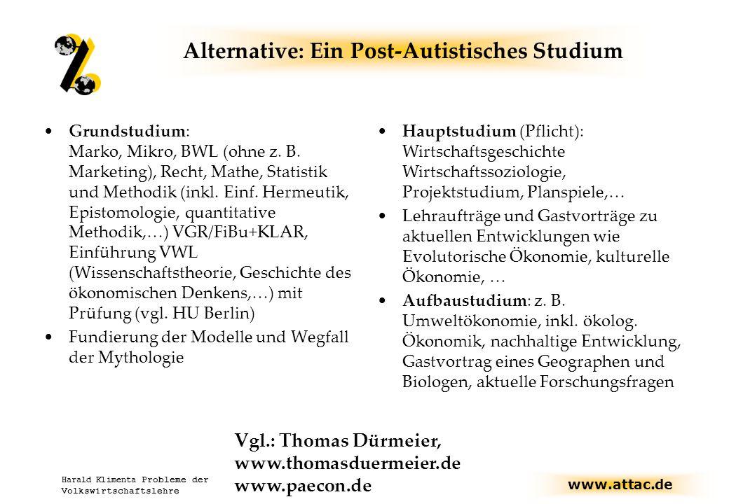 www.attac.de Harald Klimenta Probleme der Volkswirtschaftslehre Alternative: Ein Post-Autistisches Studium Grundstudium: Marko, Mikro, BWL (ohne z.