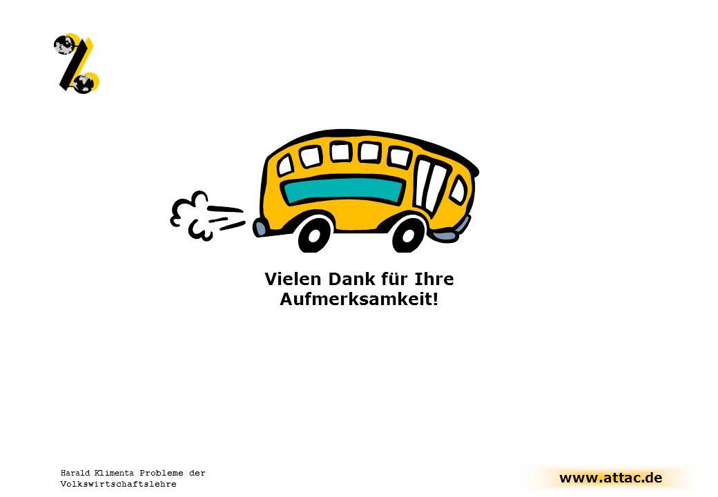 www.attac.de Harald Klimenta Probleme der Volkswirtschaftslehre Vielen Dank für Ihre Aufmerksamkeit!
