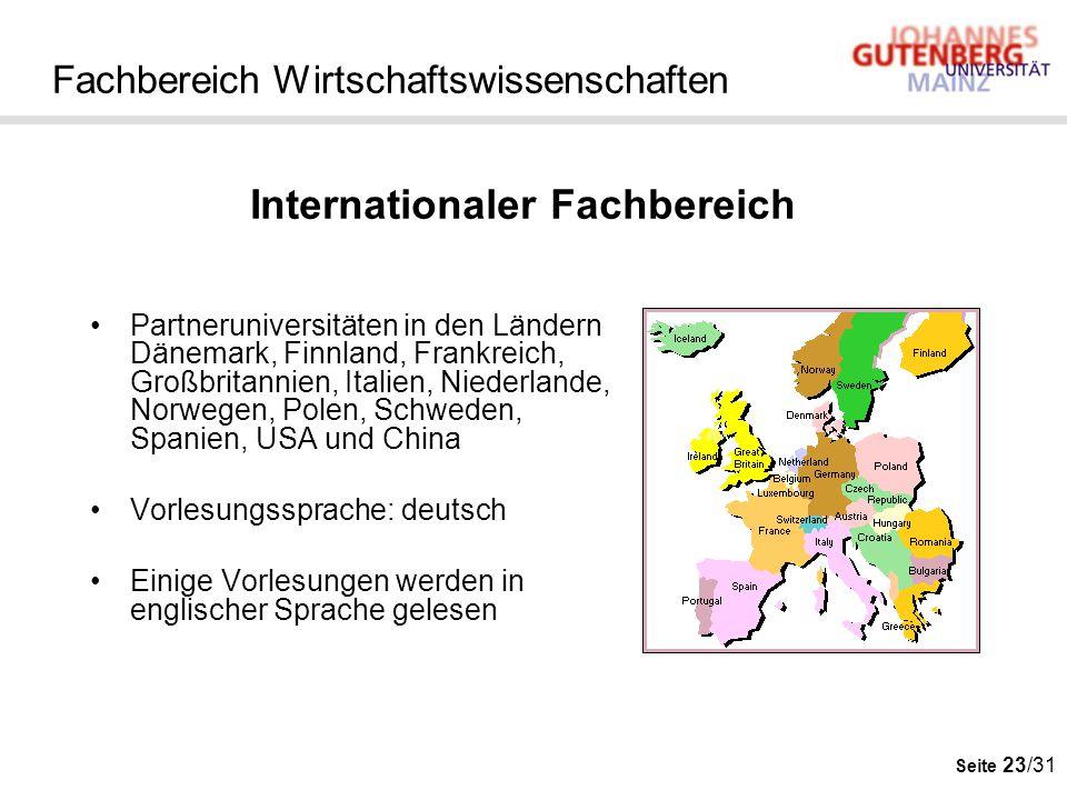 Seite 23/31 Fachbereich Wirtschaftswissenschaften Partneruniversitäten in den Ländern Dänemark, Finnland, Frankreich, Großbritannien, Italien, Niederl