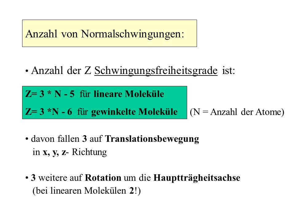 Anzahl von Normalschwingungen: Anzahl der Z Schwingungsfreiheitsgrade ist: Z= 3 * N - 5 für lineare Moleküle Z= 3 *N - 6 für gewinkelte Moleküle (N =