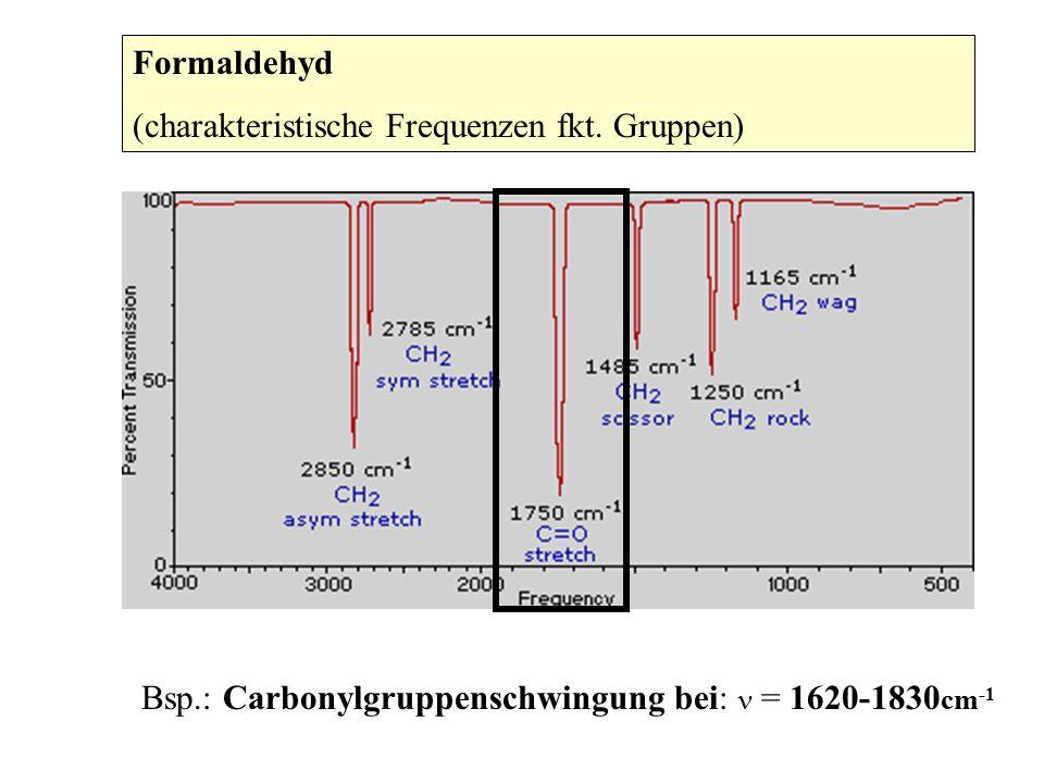 Formaldehyd (charakteristische Frequenzen fkt. Gruppen) Bsp.: Carbonylgruppenschwingung bei: = 1620-1830 cm -1