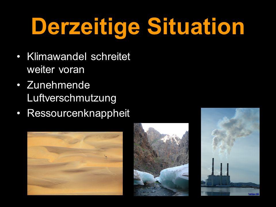 Derzeitige Situation Klimawandel schreitet weiter voran Zunehmende Luftverschmutzung Ressourcenknappheit