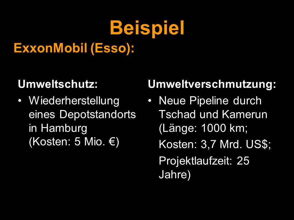 Beispiel Umweltschutz: Wiederherstellung eines Depotstandorts in Hamburg (Kosten: 5 Mio. €) Umweltverschmutzung: Neue Pipeline durch Tschad und Kameru