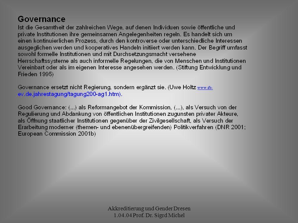 Akkreditierung und Gender Dresen 1.04.04 Prof. Dr. Sigrd Michel