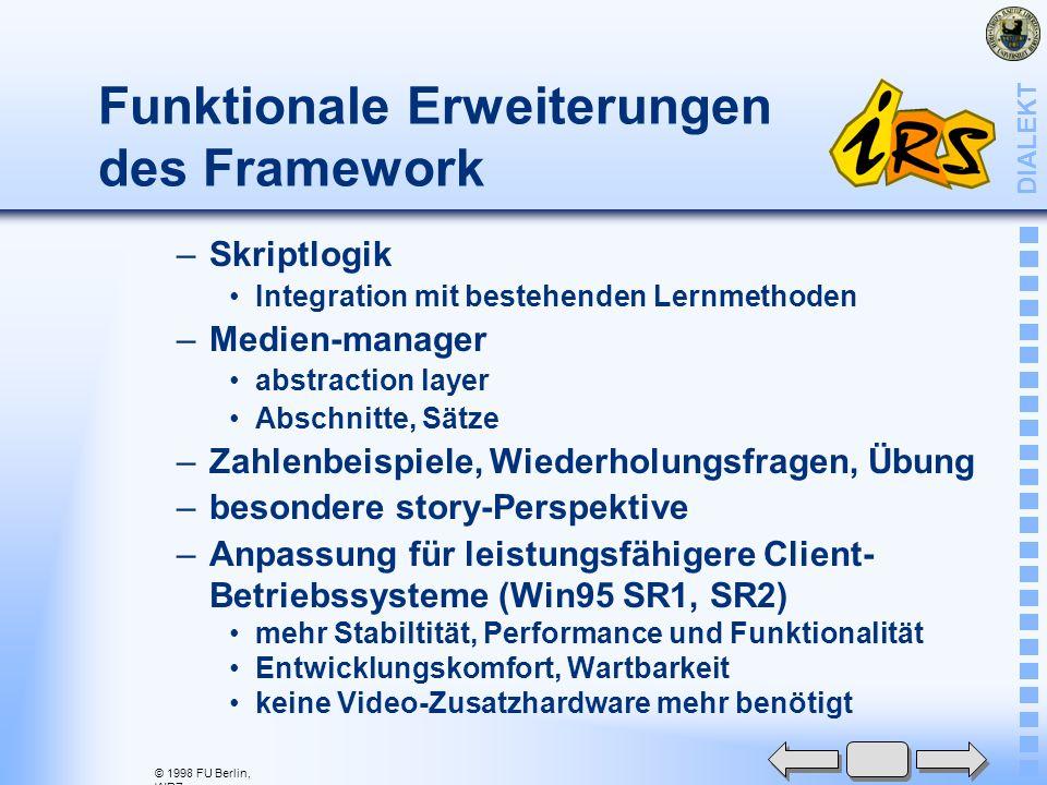 © 1998 FU Berlin, WRZ DIALEKT Migrationsaufwand –Produktionstools, Entwicklungstools, Erweiterungen, Formate –Weiterentwicklung der client-OS Win 3.xx, 95 SR1, SR2, 98, NT Erhaltung der MM-Funktionalität für Audio, Animation, Video (MPEG1) –neue Dimension: Internet-Entwicklung