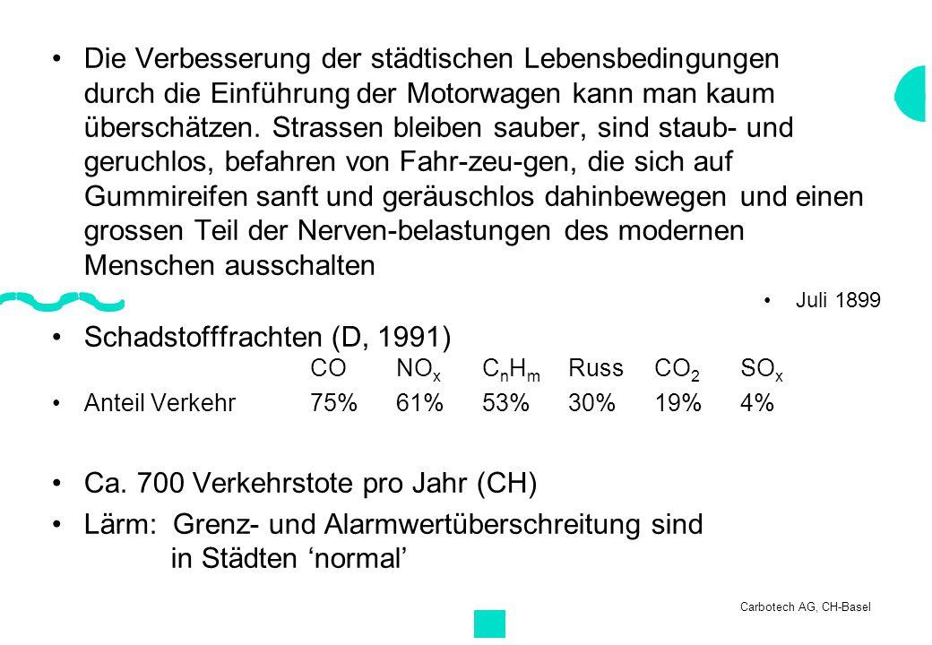 Carbotech AG, CH-Basel Die Verbesserung der städtischen Lebensbedingungen durch die Einführung der Motorwagen kann man kaum überschätzen. Strassen ble
