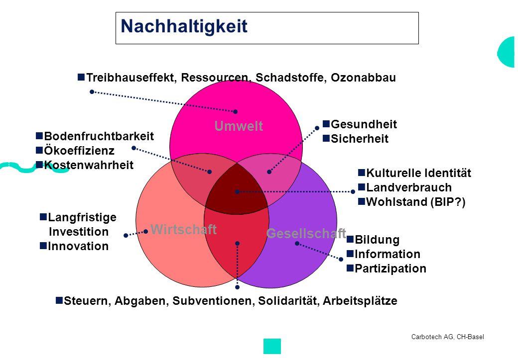 Carbotech AG, CH-Basel Treibhauseffekt, Ressourcen, Schadstoffe, Ozonabbau Langfristige Investition Innovation Umwelt Wirtschaft Gesellschaft Steuern,