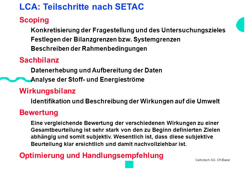 LCA: Teilschritte nach SETAC Scoping Konkretisierung der Fragestellung und des Untersuchungszieles Festlegen der Bilanzgrenzen bzw. Systemgrenzen Besc