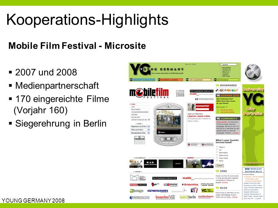 YOUNG GERMANY 2008 Kooperations-Highlights Mobile Film Festival - Microsite  2007 und 2008  Medienpartnerschaft  170 eingereichte Filme (Vorjahr 160)  Siegerehrung in Berlin