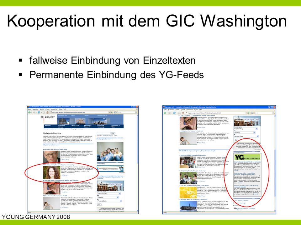 YOUNG GERMANY 2008 Kooperation mit dem GIC Washington  fallweise Einbindung von Einzeltexten  Permanente Einbindung des YG-Feeds