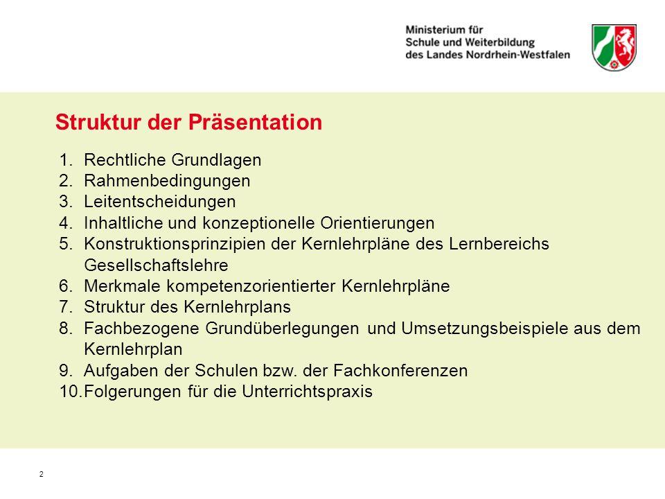 2 Struktur der Präsentation 1.Rechtliche Grundlagen 2.Rahmenbedingungen 3.Leitentscheidungen 4.Inhaltliche und konzeptionelle Orientierungen 5.Konstru