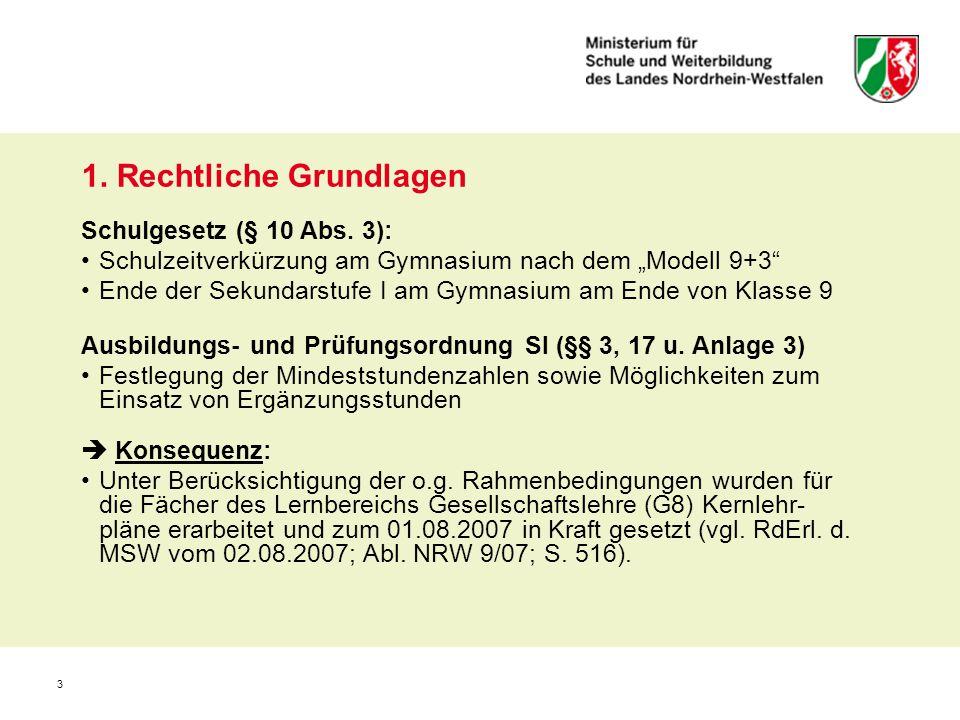 """3 1. Rechtliche Grundlagen Schulgesetz (§ 10 Abs. 3): Schulzeitverkürzung am Gymnasium nach dem """"Modell 9+3"""" Ende der Sekundarstufe I am Gymnasium am"""