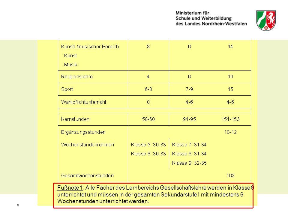 6 Fußnote 1: Alle Fächer des Lernbereichs Gesellschaftslehre werden in Klasse 9 unterrichtet und müssen in der gesamten Sekundarstufe I mit mindestens
